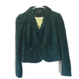 Black Rivet Emerald Velvet Blazer Jacket Size L